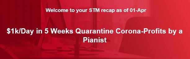 $1k/Day in 5 Weeks Quarantine Corona-Profits by a Pianist